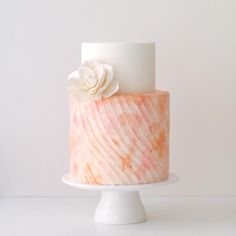 www.sugarlipscakes.com || Painted Wedding Cake || Watercolor Wedding Cake