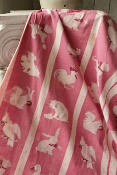 Vintage French farm yard animal printed cotton ~ pigs, roosters, parakeet , rabbit with pink ground 1930's  ~rare and gorgeous!! ~ www.textiletrunk.com