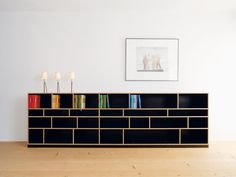 Open sectional bookcase EGAL By Nils Holger Moormann design Axel Kufus Shelf Furniture, Plywood Furniture, Furniture Design, Crate Desk, Plywood Design, Buffet, Modern Sideboard, Entertainment Center, Storage Shelves