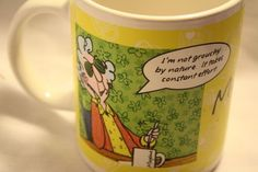 Maxine Hallmark Coffee Mug I'M not Grouchy Breakfast in Bed 1814P1 Yellow Cup | eBay