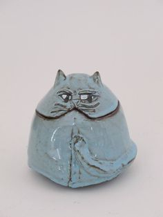 Clementina Ceramic Cat -Blue fat cat jar