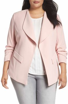 72369fe47e2 Main Image - Sejour Drape Neck Jacket (Plus Size) Blazer Jackets For Women