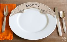 Fabulous and Free: Download these paper banner dinner plate place cards for your next dinner party. Your guests will love them so much they may ask you if they can take them home | In My Own Style
