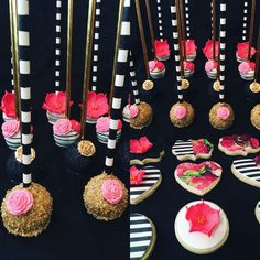 Personalized Kate Spade Inspired Sugar Cookies and Cake Pops Hot Pink Black and White etsy.com/shop/candysimply