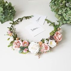 Perfect for your wedding, photoshoot or other celebrations. Very nice blush colors ❤ Ribbon is included. The size of th. Blush Flowers, Bridal Flowers, Flowers In Hair, Diy Flower Crown, Flower Crown Wedding, Flower Crowns, Bridal Crown, Boho Headpiece, Flower Headpiece
