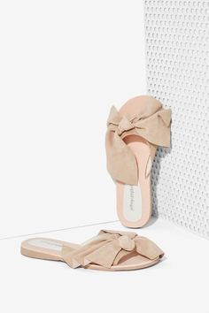Jeffrey Campbell Mucho Bow Suede Slide - Shoes | Flats | Jeffrey Campbell