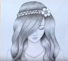 Image Of Beautiful Girl Drawing Pencil Drawing Inspiration, Pencil Drawing Images, Easy Pencil Drawings, Pencil Drawings For Beginners, Pencil Sketch Drawing, Girl Drawing Sketches, Easy Sketches For Beginners, Girl Drawing Pictures, Tumblr Girl Drawing