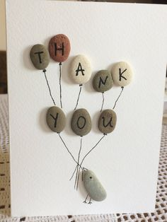 Thank you Greeting card, Hand painted Greeting card, Handmade card, Present Card, Pebble Art Birds, Balloons, Illustrated Cards by SeacraftArt on Etsy https://www.etsy.com/listing/547161277/thank-you-greeting-card-hand-painted
