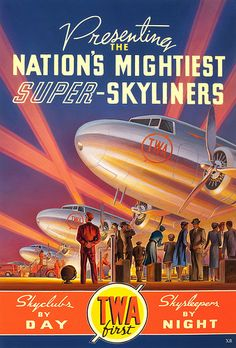 super-skyliners, advertising, 1940's, airplane