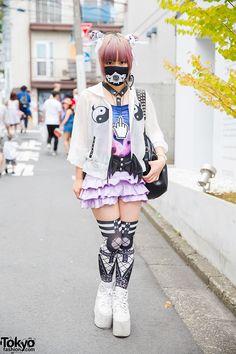 Japanese indie fashion designer Senanan on the street in Harajuku wearing fashion from her own brand QissQill - along with an ANAP skirt, tutuHA belt, Yin-Yang print Glad News items, and YRU platforms.