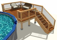 Lots of free deck plans to get your started. Designed for code with detailed drawings any DIYer will love. Free with INSIDER subscription. Rectangle Above Ground Pool, Rectangle Pool, Above Ground Pool Decks, Above Ground Swimming Pools, In Ground Pools, Free Deck Plans, Pool Deck Plans, Backyard Pool Landscaping, Backyard Pool Designs