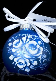 Handpainted Roses Holiday Ornament