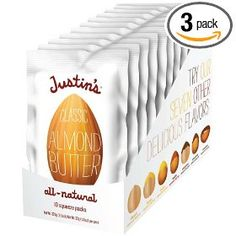 Justin's Nut Butter Natural Classic Almond Butter 10 Count Squeeze Packs, 11.5-Ounce Boxes (Pack of 3), (almond butter)