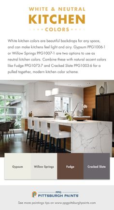 White & Neutral Paint Colors for Kitchens - White kitchen colors are… Neutral Kitchen Colors, Best Kitchen Colors, Kitchen Colour Schemes, Kitchen Paint Colors, Paint Colors For Home, Painting Kitchen Cabinets, House Colors, Neutral Paint, Color Schemes