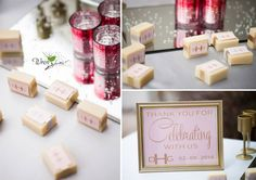 Decor and set up by Panache in Negaunee, MI.  Favors by Olive and Ruby in Marquette, MI.  Photography by Wren in Marquette, MI