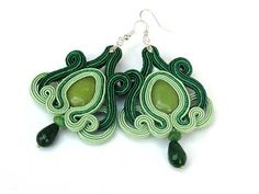 Light hanging soutache earrings with green jade Cecily