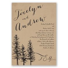 Spruced Up wedding invitation I rustic pine tree wedding invitations at Invitations by Dawn