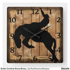 Rodeo Cowboy Horse Bronco Silhouette Square Wall Clock Cowboy Horse, Wall Clocks, Hand Coloring, Rodeo, Your Favorite, Silhouette, Horses, Display, Artwork