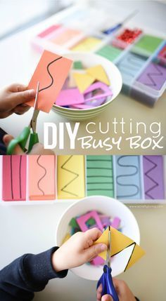 Cutting Busy Box for Toddlers & Preschoolers! Developing important Scissor Skills with these simple tips & tricks! http://www.acraftyliving.com