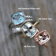 Simple and classy. I'll take the rose gold one. Morganite Ring by onegarnetgirl on #etsy