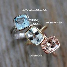 Aquamarine Rose Gold Gemstone Ring in Recycled by onegarnetgirl