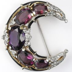 Trifari 'Alfred Philippe' Pave Black Enamel and Amethysts Crescent Moon Pin