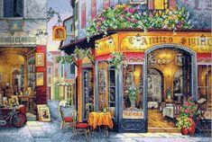"""Скачать Вышивка """"Европейское бистро"""" kostenlos. А также другие схемы вышивок в разделах: , Größe, Urban Landscape, Cafe"""