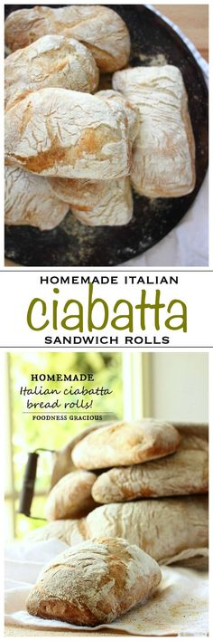 Fresh homemade Italian ciabatta sandwich rolls, chewy and crusty just like a traditional Italian bakery | Foodness Gracious