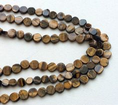 WHOLESALE 5 Strands Tigers Eye Coin Beads Tigers by gemsforjewels