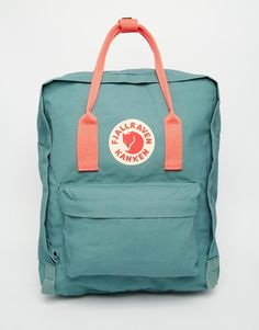 Image 1 of Fjallraven Classic Kanken in Green with Contrast Pink