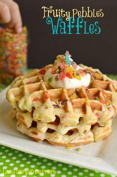 Fruity Pebble Waffles with Greek Yogurt!! - Little Dairy on the Prairie