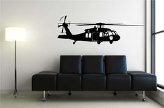 Huge Blackhawk Helicopter Vinyl Wall Decal. For a boys room.