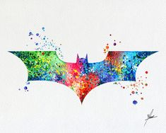 Batman Bat Modern Logo Watercolor Print Super by PainterlyDots