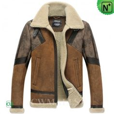 CWMALLS® Sheepskin Shearling Flight Jacket CW838020 - Designer sheepskin shearling flight jacket for men with quality material and nice details, featured with the splicing design, shearling collar with a leather buckle strap, this sheepskin flight jacket will provide the warmth and freedom of movement.