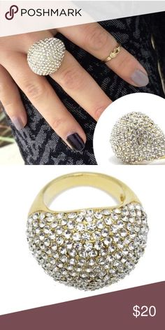 Bubble Pave Ring 18k Gold Pave Bubble Ring. 18 k plated metals. No lead or nickel. Absolutely stunning Lewboutiquetwo Jewelry Rings