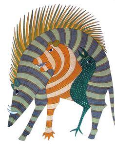 Gond Tribal Art Painting, Gond Paintings - Tribal art of India Gond paintings of. Gond Painting, Painting Tips, Watercolor Painting, Indian Art Paintings, Wall Paintings, Abstract Paintings, Original Paintings, Indian Arts And Crafts, Art Tribal