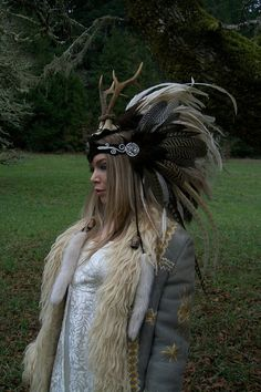 Feather Headdress with Antlers - Goddess of The Dawn Feather Headdress