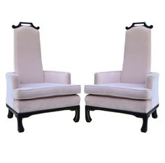 Pair Vtg Hollywood Regency Chinoiserie Tall Back Lounge Chairs James Mont Style #HollywoodRegency
