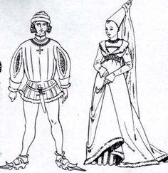 """DER BURGUNDISCHE HOF: Männer: Schecken (kurze enge Jacken mit Stehkragen. körpermodelliert. stark tailliert) Darunter trug der Mann ein enganliegendes Wams. Hose und Strümpfe verschmolzen zu Strumpfhosen. -lange Mantelröcke und der seitlich offene Tappert(langer Überrock mit pelzbesetztem Saum) """"Miparti"""" : zweigeteilte Kleider mit verschiedlichen Farbhälften (Nur Adel trug Farbe rot und den """"Dusing"""", ein breiter, lose auf den Hüften liegender Gürtel)"""
