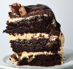 OMG....who's gonna make this for me for my birthday this year?!!?  Chocolate Peanut Butter Cup Overload Cake