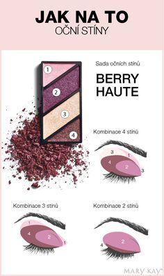 Sada očních stínů Berry Haute nabízí nespočet možností, jak stíny zkombinovat. Zde vám přinášíme pár tipů přímo z maskérny Mary Kay.