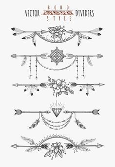 Arrow feather drawing page dividers. Wild boho gypsy romantic elements for invitation design. Vector illustration Arrow feather drawing page dividers. Wild boho gypsy romantic elements for invitation design. Boho Tattoos, Trendy Tattoos, Cute Tattoos, Body Art Tattoos, Small Tattoos, Ankle Tattoos, Tatoos, Small Arrow Tattoos, Feather Drawing