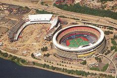 Aerial of Three Rivers Stadium and Heinz Field under construction (Pittsburgh Steelers) Go Steelers, Pittsburgh Steelers Football, Pittsburgh Sports, Pittsburgh Pirates, Steelers Stuff, Football Stuff, Nfl Stadiums, Olympia Stadium, Three Rivers Stadium
