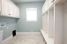 Benjamin Moore Beach Glass...a lovely color this laundry room.