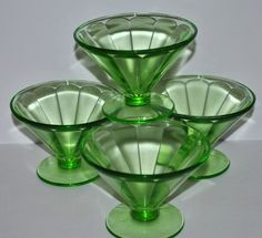 bbf762dc9f55 Vintage Federal Sherbet Dessert Glasses Green Depression Glass