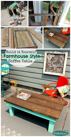 ART IS BEAUTY: DIY build it yourself Vintage Farmhouse Style Coffee Table from Rescued Lumber.