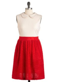 Boucle by Me Dress in Apple - Mid-length, Red, Tan / Cream, Peter Pan Collar, Work, Casual, Vintage Inspired, Sleeveless, Fall, Twofer, Exposed zipper, Collared