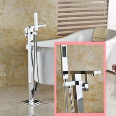 Floor Mounted Bath tub Faucet Chrome Tub Filler Mixer Tap W ABS