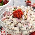 Strawberry Poppy Seed Chicken Salad ~ this light and fruity chicken salad is perfect for spring or summer, with crunchy toasted pecans and a creamy, honey-kissed dressing that's been lightened up with Greek yogurt! | FiveHeartHome.com