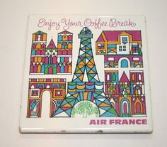 Air France vintage 1960s limited edition first class coffee trivet  US $59.99 Used in Collectibles, Transportation, Aviation
